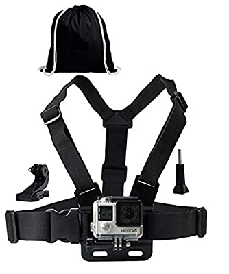 Chest Mount Harness Strap + J-Hook, Thumbscrew & Black Drawstring Storage Bag. Compatible with GoPro and All Action Cameras by XTW ELECTRONIC CO LTD