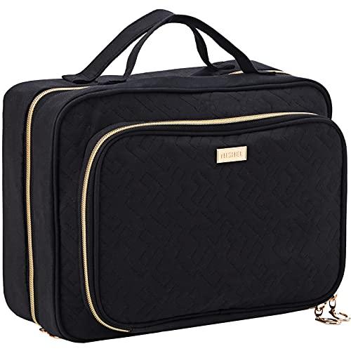 NISHEL Hanging Travel Toiletry Bag, Visible Makeup Organizer, Makeup Case for Travel Accessories, Bathroom Shower, Black