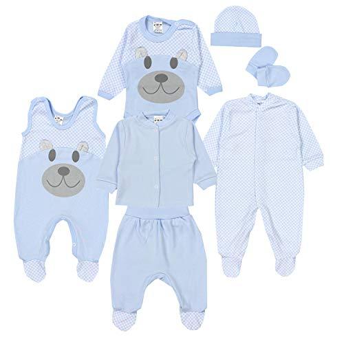 TupTam Baby Bekleidungsset Erstausstattung Sterne 7 teilig, Farbe: Bärchen/Blau, Größe: 62