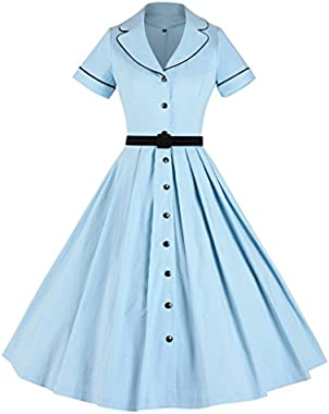 GownTown Women's 1950sVintage Classical Casual Swing A-line Dress