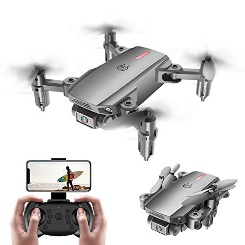 KELEQI 2.4Ghz Mobile Remote Control Foldable Quadcopter, Drone with Dual Camera 4K HD, Smart Follow, WiFi Live Video, Headless Mode, Drone for Beginner Kids Adults,Gray