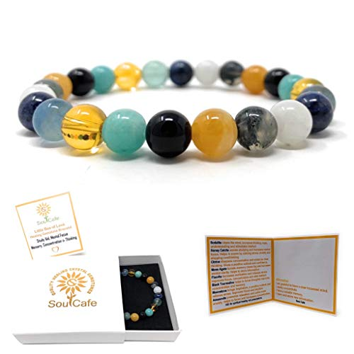 Study and Exams Crystal Gemstone Bracelet - Power Bead Bracelet - Memory, Concentration - SoulCafe Gift Box & Tag