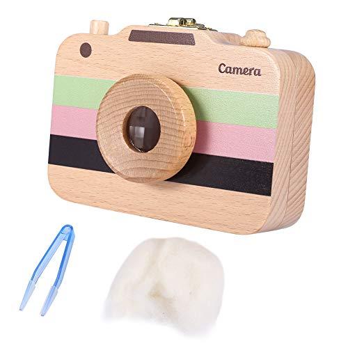 Yunnyp Wooden Camera-Pattern Aufbewahrungsbox, Hülle für Milchzähne und Babyhaare (Braun) Wooden Children's Camera Aufbewahrungsbox für Milchzähne Lanugo Collection Aufbewahrungsbox für Souvenirs
