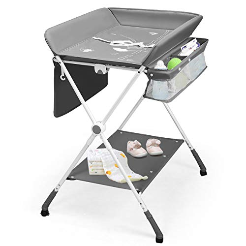 BABY JOY Baby Changing Table, Height Adjustable 4 in 1 Folding Diaper Station w/Detachable Wheels, Safety Belt, Storage Rack & Bag, Waterproof Pad, Portable Nursery Organizer for Infant Newborn, Gray