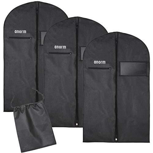 anorm Premium Kleidersack | 3 Stück Kleidertasche + Schuhbeutel | Aufbewahrung | hochwertige Kleiderhülle für Anzug, Uniform und Kleid | Wasserdichte Atmungsaktive Kleidertasche für Reisen | 100x60cm