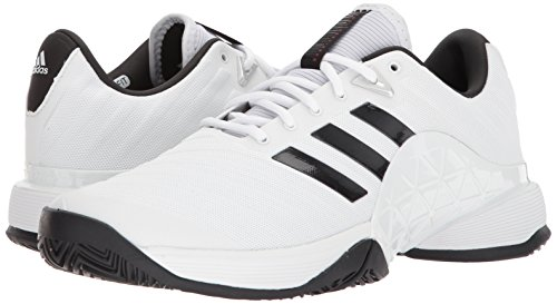 adidas Men's Barricade 2018 Tennis Shoe, White/Black/Matte Silver, 5 M US