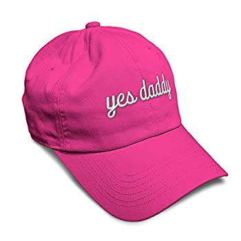 Soft Baseball Cap Yes Daddy Embroidery Twill Cotton Dad Hats for Men & Women Buckle Closure Hot Pink Design Only