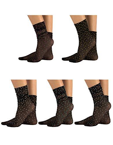 CALZITALY 5 Paar Leichte Strümpfe mit Bunten Punkten | 5 Paar Farbige Socken mit Punkten | Grau, Grün, Hautfarbe, Schwarz| Made in Italy (Einheitsgröße, Schwarz)