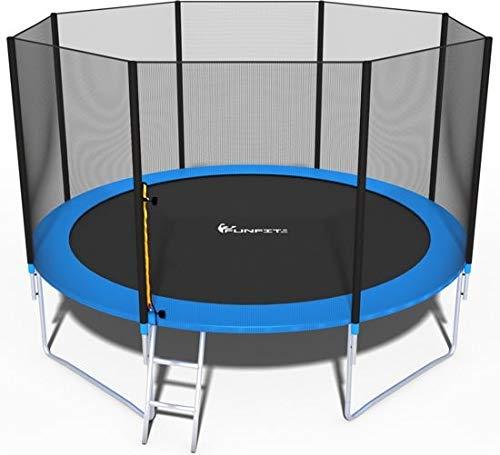 Trampolin, Gartentrampolin Jumper, TÜV & GS Zertifizierung, inklusive Sicherheitsnetz, Leiter, Sprungmatte und Randabdeckung, 374 cm Durchmesser