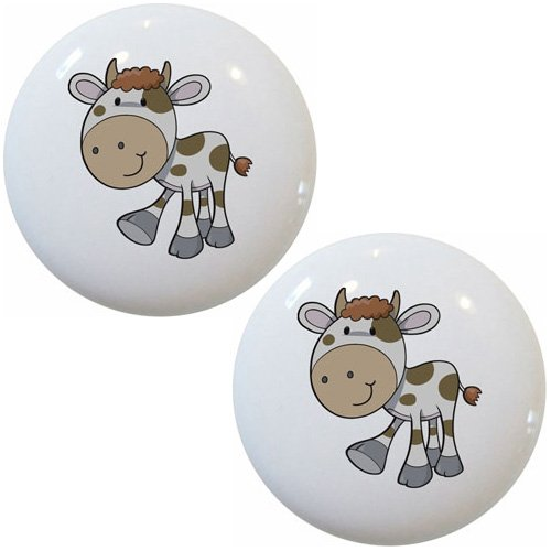 Set of 2 Spotted Cow Farm Animal Ceramic Cabinet Drawer Pull Knobs