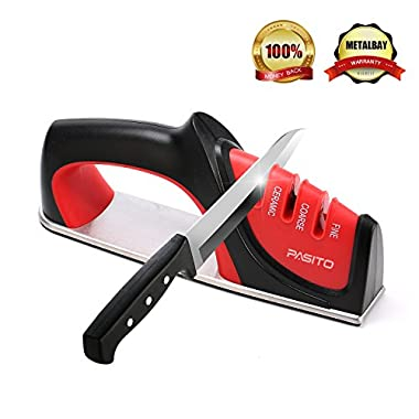 Knife Sharpener, Pasito 3-Stage Sharpening Tool With Diamond, Coarse-Tungsten & Fine Ceramic Slots (Red)