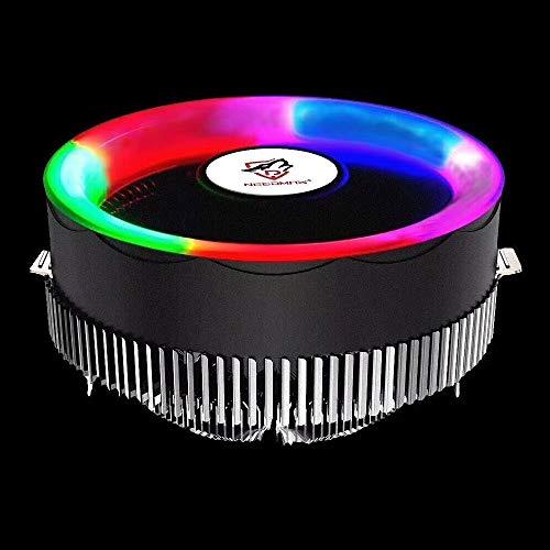 LYYCEU 3 Pin Componentes Computadoras Componentes Chassis Fan Host Ventilador de refrigeración silencioso con luz de color RGB para Intel: 1775 1366 1150 1151 1155 1156 (AMD: 754 939 AM2 AM2 + AM3 AM3