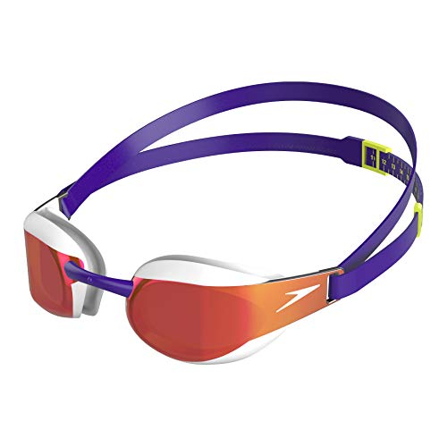 Speedo Fastskin Elite Mirror Goggle, Swimming Goggles Unisex-Adult, Violet/White/Gold, One Size