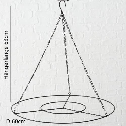 Malou Home Design Metall Deckenkranz rund grau - D 60 cm, Dekorationsträger, Deckenhänger