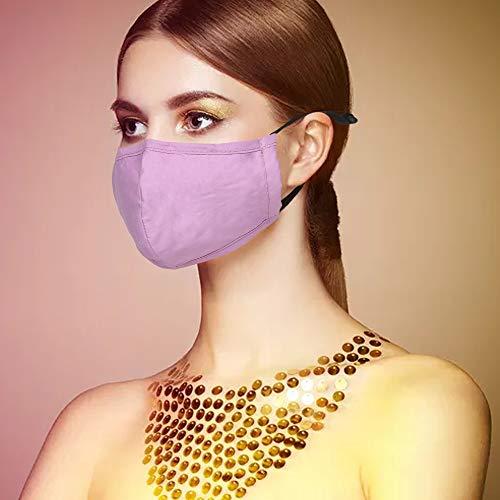 Masken Stoff Mund-Nasen Maske waschbar Mund-Nasen Abdeckung 100% Baumwolle (Lila, 1er)