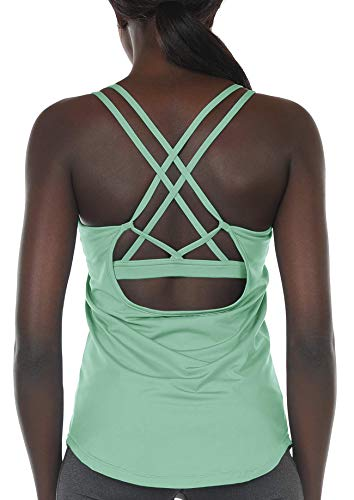 icyzone Workout Tank Tops Built in Bra - Women's Strappy Athletic Yoga Tops, Running Exercise Gym Shirts (XL, Brook Green)