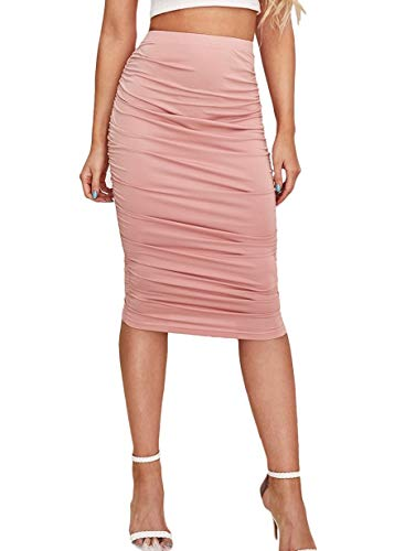 SheIn Women's Solid High Waist Ruched Frill Bodycon Stretch Ruffle Midi Pencil Skirt Pink Large