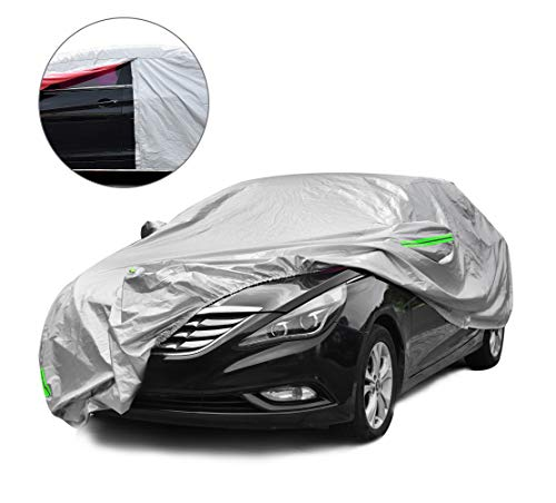 Tecoom Light Shell Waterproof UV-Proof Windproof Design Car Cover with Zipper Storage and Lock for All Weather Indoor Outdoor Fit 191-200 Inches Sedan