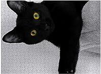 新しい黒猫がソファでリラックスパズル500ピース木製大人のジグソーパズルカラー抽象絵画パズル子供向け教育玩具ギフト