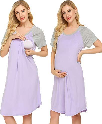 Ekouaer 3 in 1 Delivery/Labor/Nursing Nightgown Women's Maternity Hospital Gown/Sleepwear for Breastfeeding