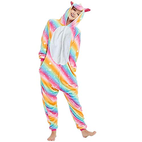 Swhily Einhorn Kostüm Damen Herren, Onesie Einhorn Erwachsene Karneval Halloween Tier Cosplay Pyjama Jumpsuit (Regenbogen, M)