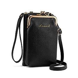 LOVEVOOK Sac à Bandoulière pour Téléphone, Petit Portefeuille Femme en Cuir PU, Sac de Téléphone Portable Mini Pochette…