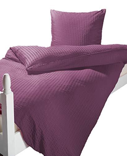 Bettwäsche Microfaser Seersucker UNI violett 135x200 + 80x80 cm