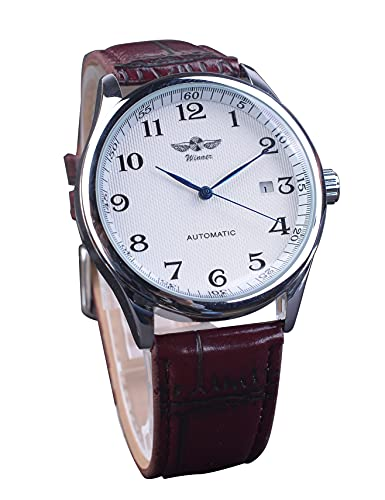 Ganador retro marrón cinturón reloj de pulsera mecánico automático con fecha minimalista con números romanos grandes, reloj fácil de leer para hombres regalo de negocios