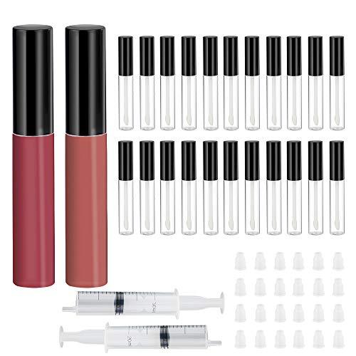 24 Stück 10ml Leeres Plastik Lipgloss Röhrchen Behälter Set, Nachfüllbare Lippen Balsam Flaschen...