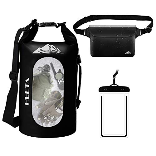HEETA Waterproof Dry Bag for Women Men, 5L/ 10L/ 20L/ 30L Roll Top Lightweight Dry Storage Bag Backpack with Phone Case for Travel, Swimming, Boating, Kayaking, Camping and Beach, Black 10L
