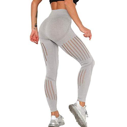 DEEWISH Damen Yoga Lange Leggins, Bauchkontrolle Leggings für Frauen Blickdicht Yogahose Fitnesshose mit hoher Taille Sporthose Mesh-Aushöhlen (S, Grau)