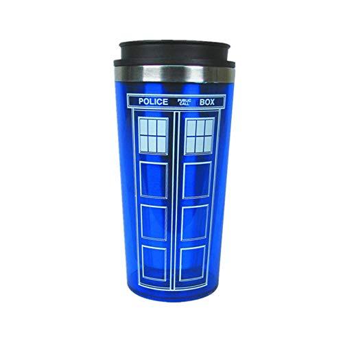 Weinschale 450Ml Doctor Dr. Who Tardis Kaffeetasse Mit Deckel Kaffeetasse Edelstahl Innenthermosflasche Weihnachtsgeschenke, A, 450Ml