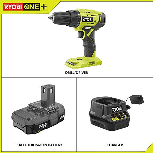 Ryobi P215K 18-Volt ONE+ Lithium-Ion Cordless 1/2 in. Drill/Driver Kit with (1) 1.5 Ah Battery and 18-Volt Charger