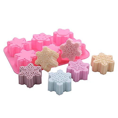 Colowam 6 Even Pink Snowflake Silicone Mold Christmas Soap Mold Christmas Silicone Mold (Different)