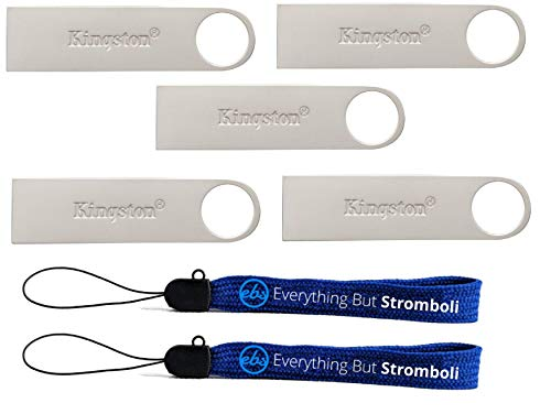 Kingston (TM) Digital 64GB DTSE9 G2 Data Traveler 5 Pack 3.0 USB High Speed Flash Drive with (2) Everything But Stromboli (TM) Lanyards