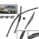 Byrhgood Lame tergicristalli Anteriori Wiper LHD Set per Opel Corsa D 2006-2014 Finestra Posteriore Parabrezza Parabrezza 26'+16' +12'