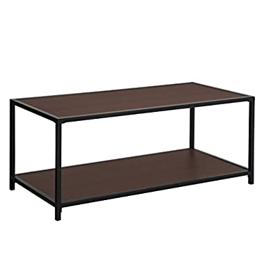 SONGMICS Coffee Table, with Storage Shelf, Metal Frame Cocktail Table, for Living Room and Office, Dark Brown ULCT66BZ