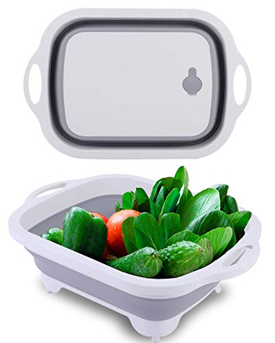 WKX Collapsible Cutting Board Wash Basin Camping and Kitchen Container Plastic Foldable Basin Portable Cut board Multifunction 3 in 1 With Drain plug Veggies Fruits Basin