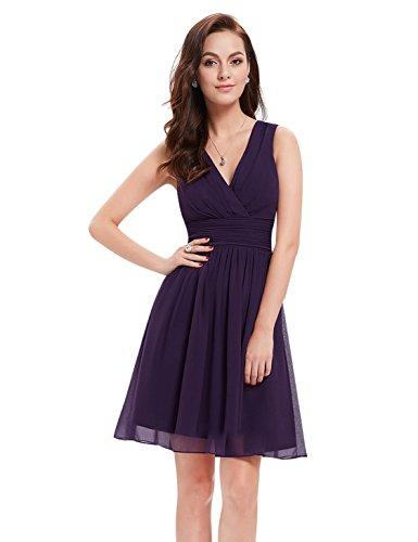 Ever-Pretty Doppelt V-Ausschnitt Rueschen an Taille Kurz Damen Party Kleider Größe 48 Dunkelviolett