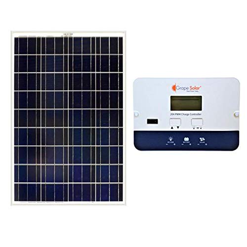Grape Solar GS-100-BASIC Basic Off Grid Polycrystalline Solar Panel Kit, 100W