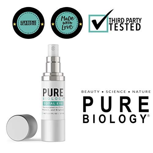 41LJXSTSrSL - Pure Biology Premium Total Eye Cream Serum - Anti Aging Vitamin C, E & Hyaluronic Acid Reduce Dark Circles, Puffiness, Under Eye Bags, Wrinkles & Fine Lines for Men & Women (0.5 oz)