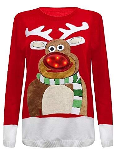 Momo&Ayat Fashions Ladies Ugly Christmas Rudolph Flashing Light Christmas Jumper UK Size 8-22 (Red, S/M (UK 8-10))