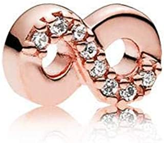PANDORA Infinity Sign Petite Locket Insert Element in PANDORA Rose with 8 Micro Bead-Set Clear Cubic Zirconia - 782178CZ