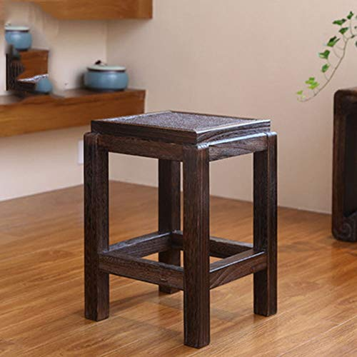 ZhuFengshop Chinese massief hout vierkante kruk, eenvoudige schoen bank, salontafel kleine bank, creatieve kleine bank stoel/bruine voetenbank, woonkamer