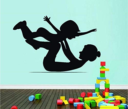 Hbbhbb Mom And Baby Gymnastics Wall Stickers Art Baby Children'S Nursery Bedroom Sports Room Decoration 92X57Cm