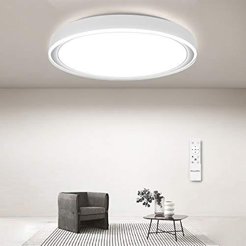 Deckenleuchte Led Dimmbar mit Fernbedienung, 24W Modern Deckenlampe für Schlafzimmer Wohnzimmer Küche Kinderzimmer, 3000-6500K, Weiß Rund 41cm