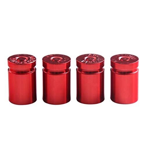 MagiDeal 4pcs Tapas de Válvula de Vástago de Neumático de Rueda de Camión de Coche de Aleación de Aluminio Cubiertas Antipolvo Rojo