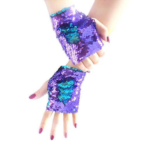 Mermaid Gloves, Reversible Magic Sequin Fingerless Gloves for Dance Birthday Party Favor Gifts, Decorative Charm Wristband for Kids, Girls and Women (Purple-Blue)
