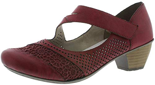 Rieker 41743 Damen Riemchen Pumps,Schließen-Pumps,Mary-Jane,festlich,Oktoberfest,Dirndl,Wiesn,Tracht,wine/scala/35,36 EU / 3.5 UK