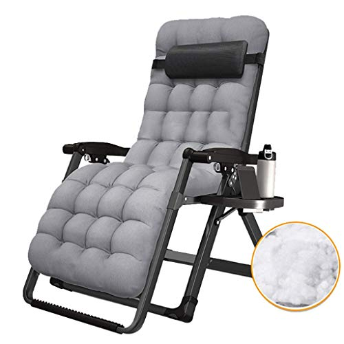 WJJJ Sillón Sillón Zero Gravity Sillón reclinable para Patio Sillón para Patio Sillón reclinable y Ajustable con portavasos y reposacabezas (Color: Silla + Cojín 2)